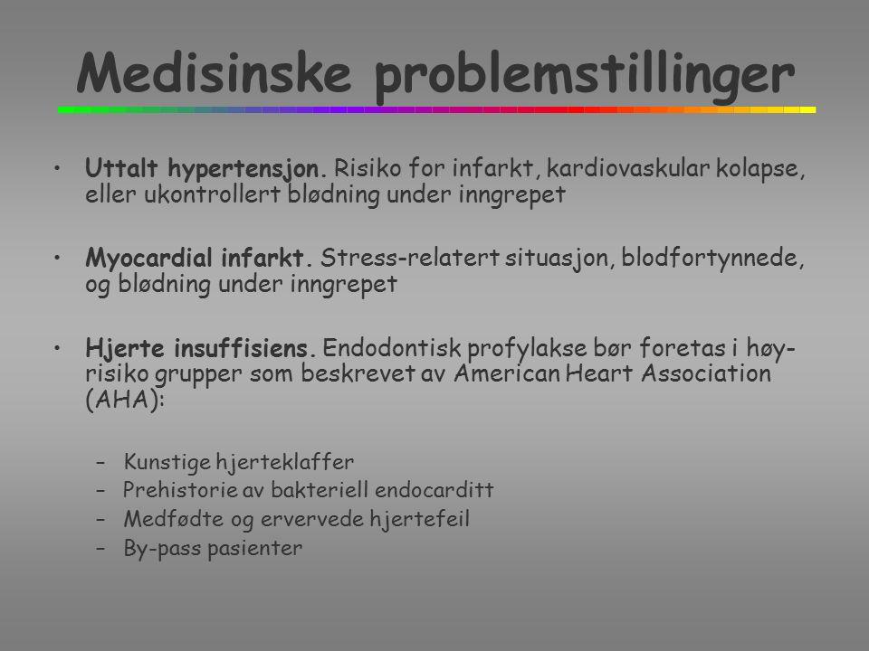 Medisinske problemstillinger Uttalt hypertensjon.