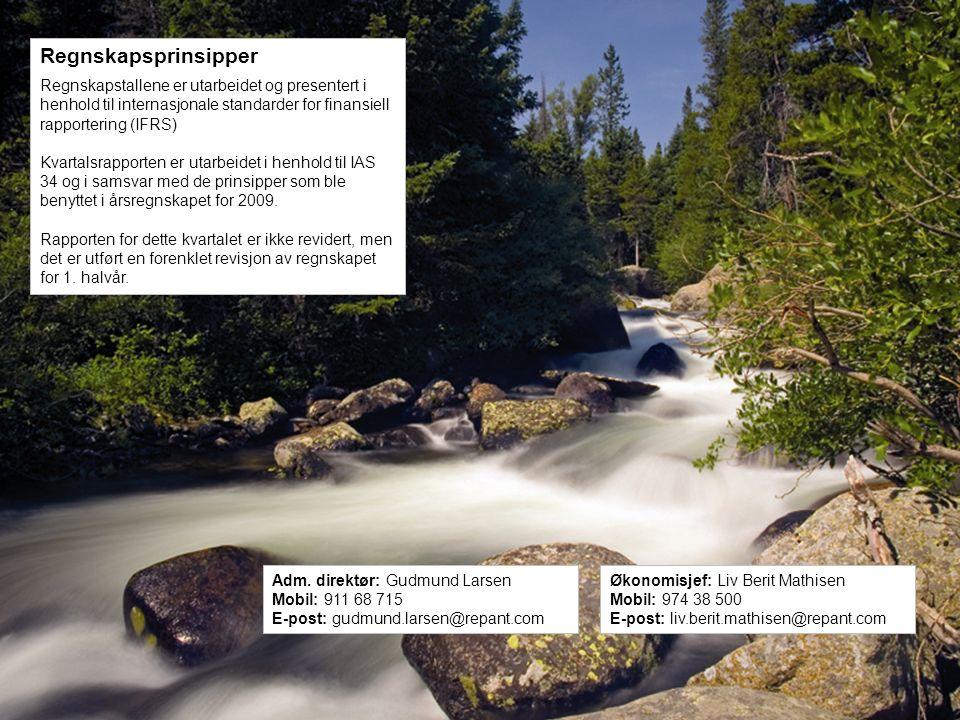 Repant ASA | Kobbervikdalen 75 | 3036 Drammen | Norway | Phone: +47 32 20 91 00 – www.repant.no Regnskapsprinsipper Regnskapstallene er utarbeidet og presentert i henhold til internasjonale standarder for finansiell rapportering (IFRS) Kvartalsrapporten er utarbeidet i henhold til IAS 34 og i samsvar med de prinsipper som ble benyttet i årsregnskapet for 2009.