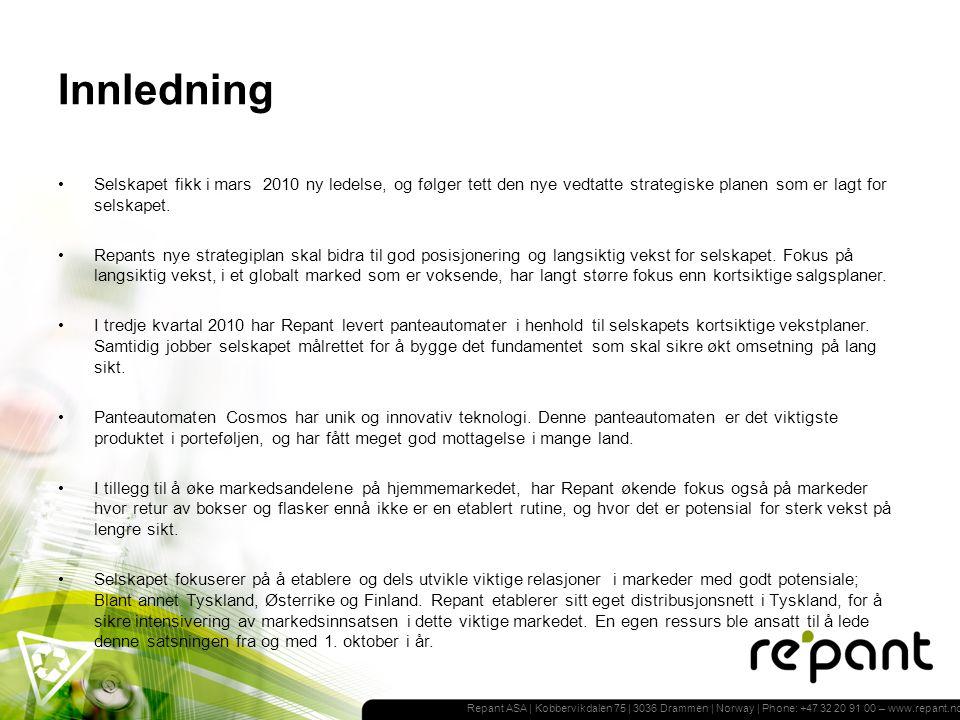 Repant ASA | Kobbervikdalen 75 | 3036 Drammen | Norway | Phone: +47 32 20 91 00 – www.repant.no Resultat Totalresultatregnskap 3.