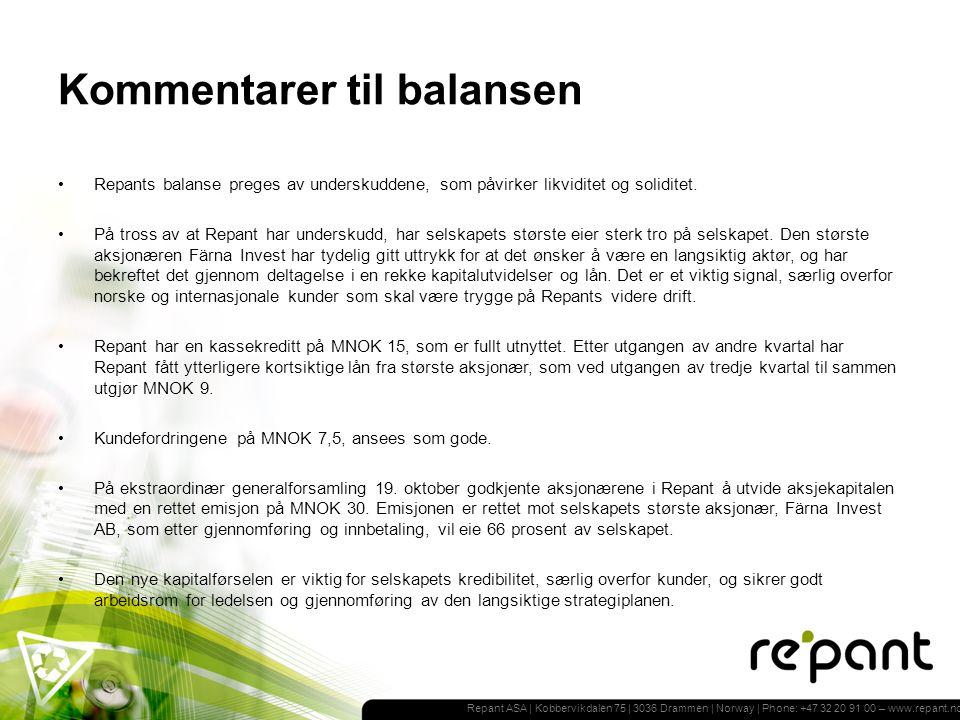 Repant ASA | Kobbervikdalen 75 | 3036 Drammen | Norway | Phone: +47 32 20 91 00 – www.repant.no Kommentarer til balansen Repants balanse preges av underskuddene, som påvirker likviditet og soliditet.