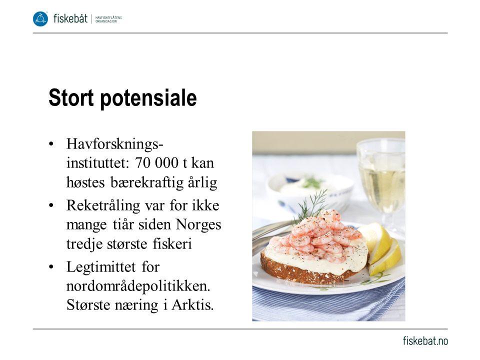 Stort potensiale Havforsknings- instituttet: 70 000 t kan høstes bærekraftig årlig Reketråling var for ikke mange tiår siden Norges tredje største fiskeri Legtimittet for nordområdepolitikken.