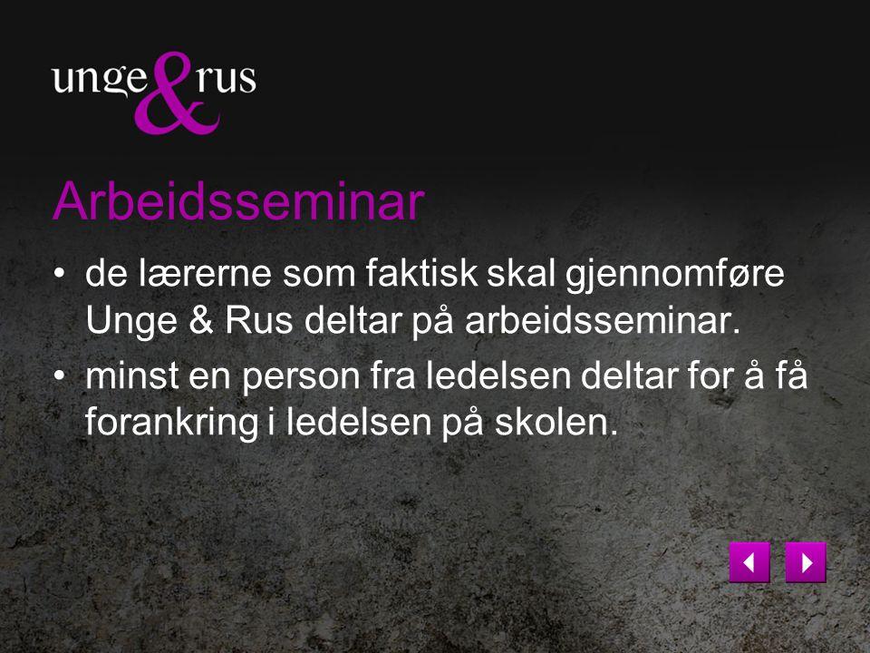 Eksempler på gjennomføring Gjennomføring av Unge & Rus som ukeprosjekt Gjennomføring av Unge & Rus fordelt over 6 uker