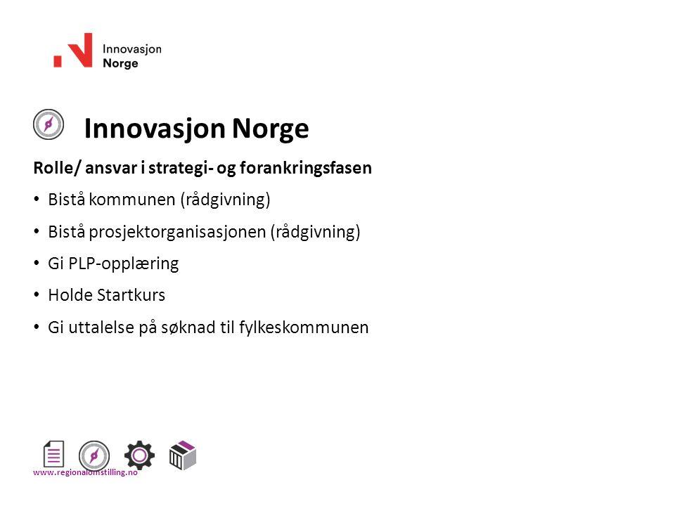 Innovasjon Norge Rolle/ ansvar i strategi- og forankringsfasen Bistå kommunen (rådgivning) Bistå prosjektorganisasjonen (rådgivning) Gi PLP-opplæring