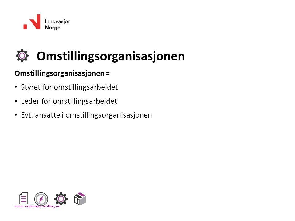 Omstillingsorganisasjonen Omstillingsorganisasjonen = Styret for omstillingsarbeidet Leder for omstillingsarbeidet Evt. ansatte i omstillingsorganisas