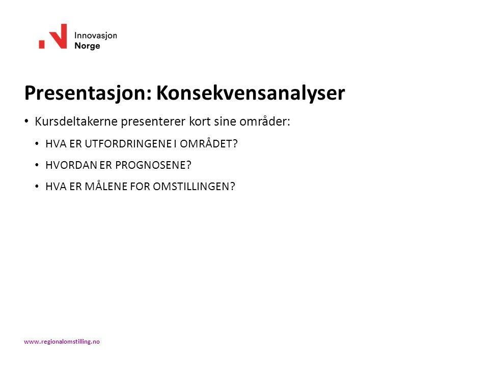 Presentasjon: Konsekvensanalyser Kursdeltakerne presenterer kort sine områder: HVA ER UTFORDRINGENE I OMRÅDET? HVORDAN ER PROGNOSENE? HVA ER MÅLENE FO