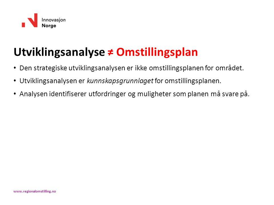 Utviklingsanalyse ≠ Omstillingsplan Den strategiske utviklingsanalysen er ikke omstillingsplanen for området. Utviklingsanalysen er kunnskapsgrunnlage