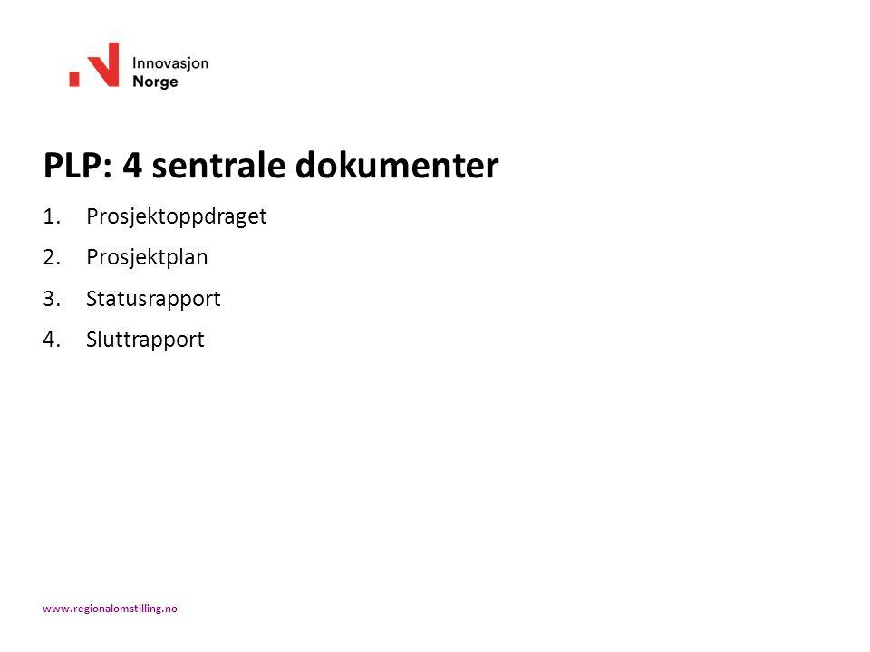 PLP: 4 sentrale dokumenter 1.Prosjektoppdraget 2.Prosjektplan 3.Statusrapport 4.Sluttrapport www.regionalomstilling.no