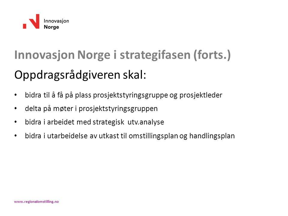 Innovasjon Norge i strategifasen (forts.) Oppdragsrådgiveren skal: bidra til å få på plass prosjektstyringsgruppe og prosjektleder delta på møter i prosjektstyringsgruppen bidra i arbeidet med strategisk utv.analyse bidra i utarbeidelse av utkast til omstillingsplan og handlingsplan www.regionalomstilling.no