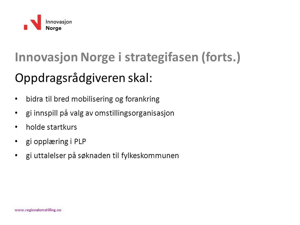 Innovasjon Norge i strategifasen (forts.) Oppdragsrådgiveren skal: bidra til bred mobilisering og forankring gi innspill på valg av omstillingsorganis
