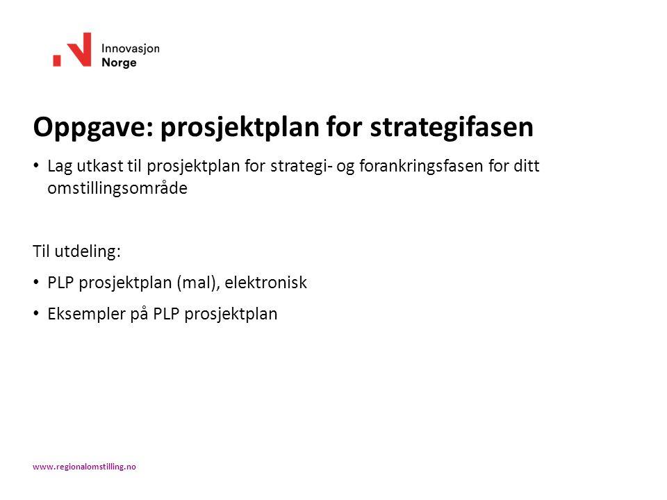 Oppgave: prosjektplan for strategifasen Lag utkast til prosjektplan for strategi- og forankringsfasen for ditt omstillingsområde Til utdeling: PLP prosjektplan (mal), elektronisk Eksempler på PLP prosjektplan www.regionalomstilling.no