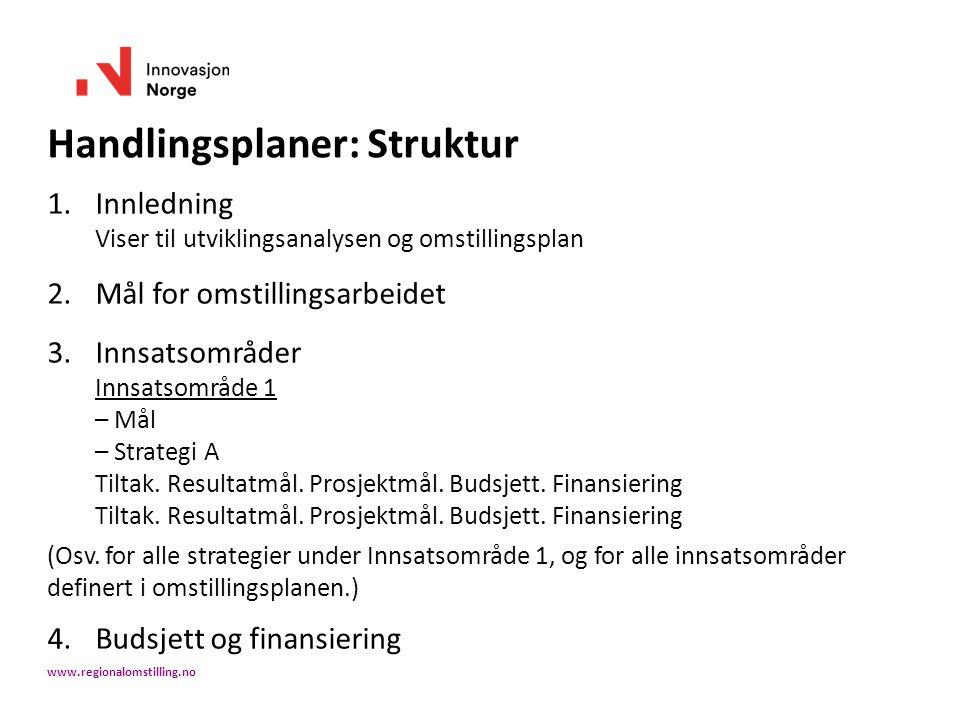 Handlingsplaner: Struktur 1.Innledning Viser til utviklingsanalysen og omstillingsplan 2.Mål for omstillingsarbeidet 3.Innsatsområder Innsatsområde 1 – Mål – Strategi A Tiltak.