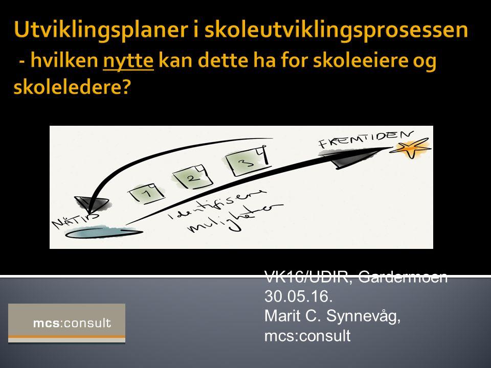 VK16/UDIR, Gardermoen 30.05.16. Marit C. Synnevåg, mcs:consult