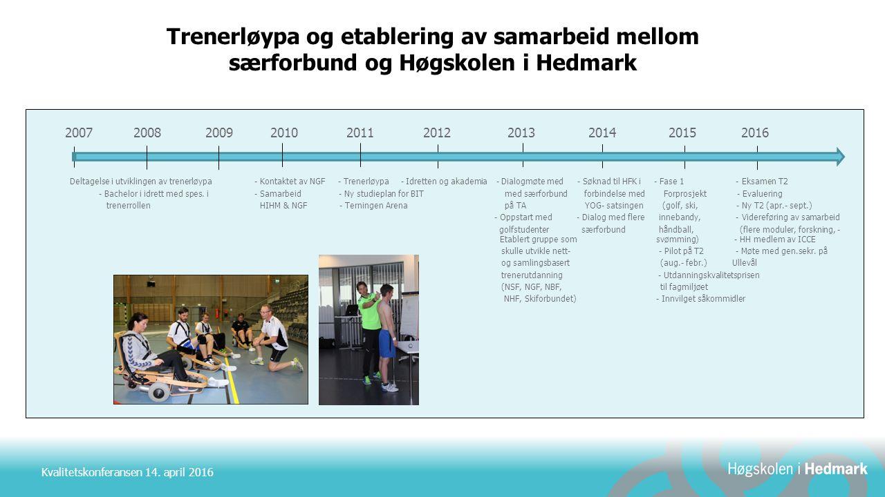 Kvalitetskonferansen 14. april 2016 Trenerløypa og etablering av samarbeid mellom særforbund og Høgskolen i Hedmark 2007 2008 2009 2010 2011 2012 2013