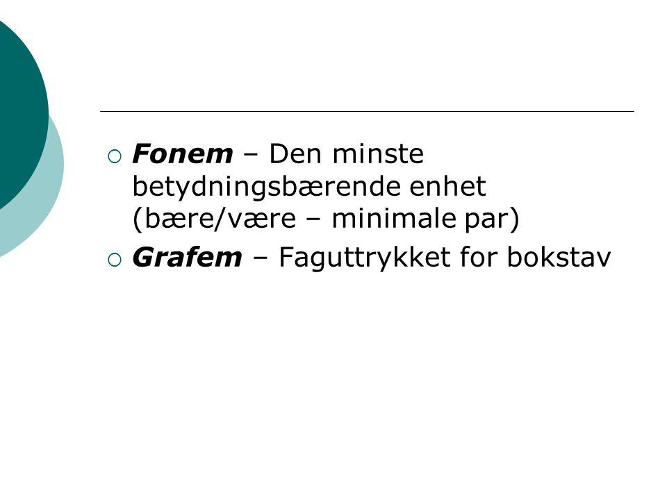  Fonem – Den minste betydningsbærende enhet (bære/være – minimale par)  Grafem – Faguttrykket for bokstav