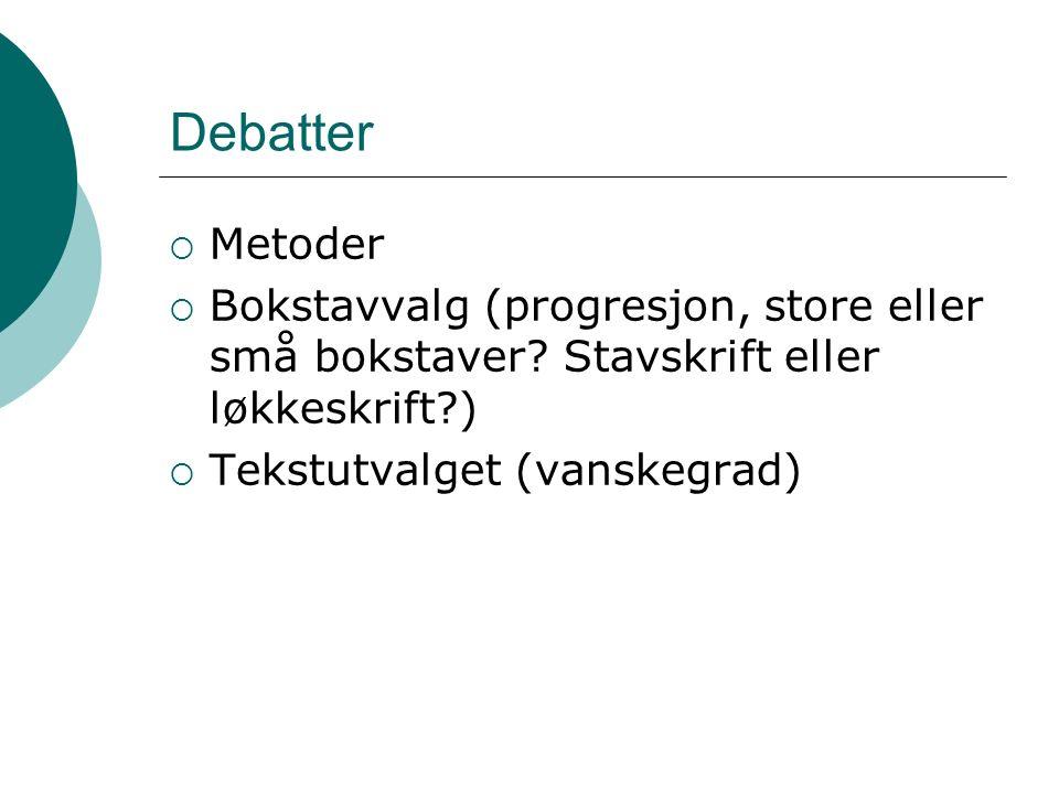 Debatter  Metoder  Bokstavvalg (progresjon, store eller små bokstaver.