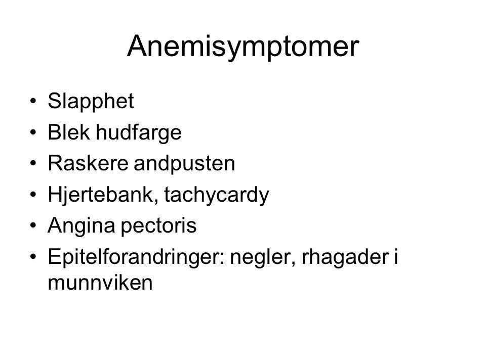 Anemisymptomer Slapphet Blek hudfarge Raskere andpusten Hjertebank, tachycardy Angina pectoris Epitelforandringer: negler, rhagader i munnviken