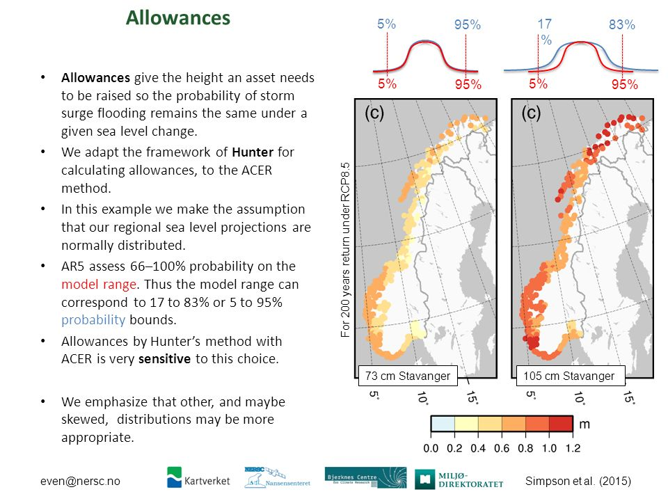 Simpson et al. (2015) even@nersc.no Allowances Allowances give the height an asset needs to be raised so the probability of storm surge flooding remai