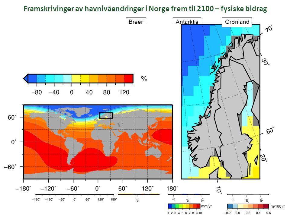 Simpson et al. (2015) even@nersc.no Framskrivinger av havnivåendringer i Norge frem til 2100 – fysiske bidrag landheving AntarktisBreer Sterisk/dynami