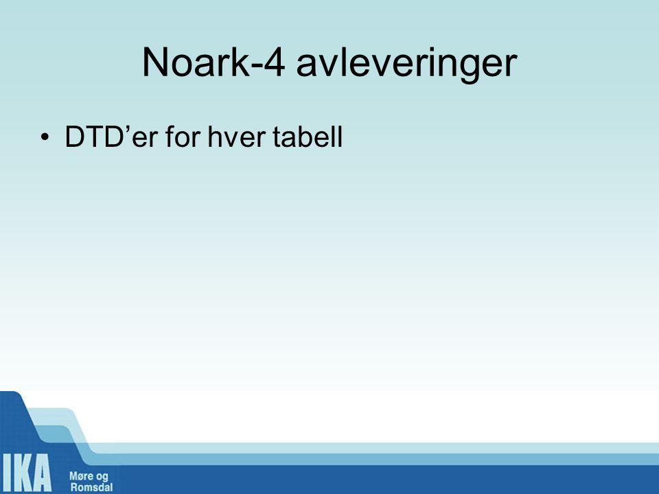 Noark-4 avleveringer DTD'er for hver tabell