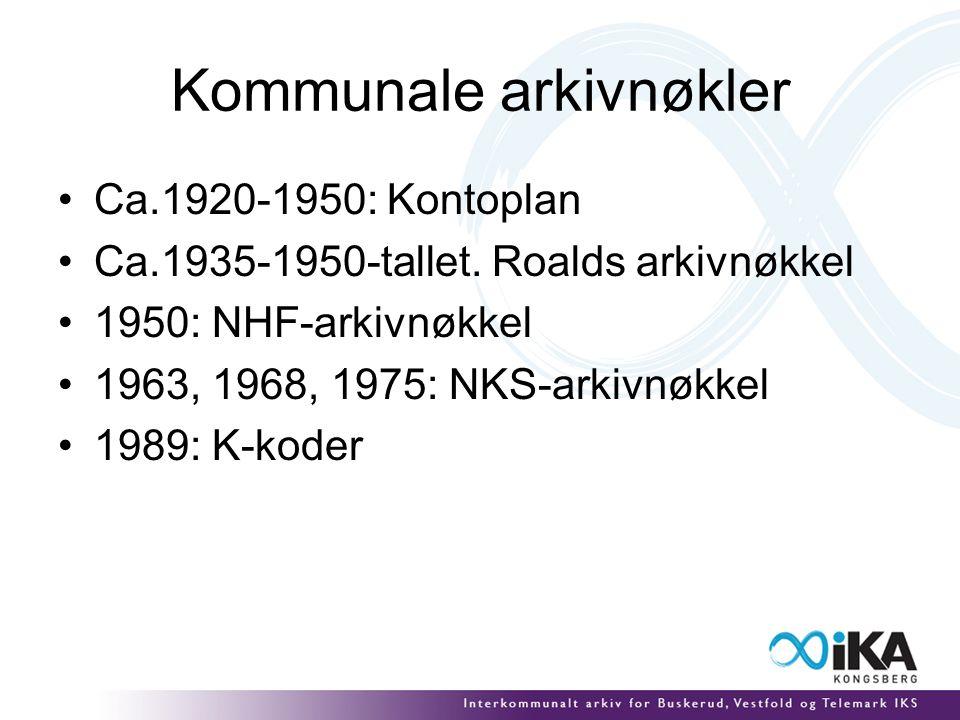Kommunale arkivnøkler Ca.1920-1950: Kontoplan Ca.1935-1950-tallet.