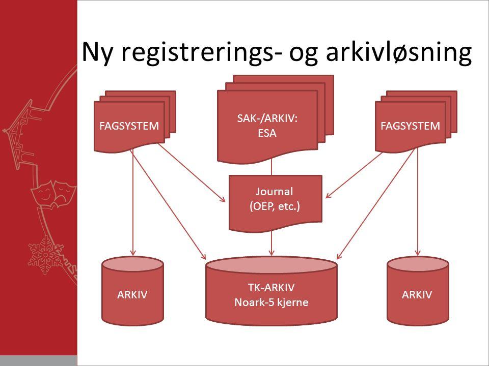 Ny registrerings- og arkivløsning ARKIV Generell saksbehandlings løsning Journal (OEP, etc.) SAK-/ARKIV: ESA ARKIV FAGSYSTEM TK-ARKIV Noark-5 kjerne