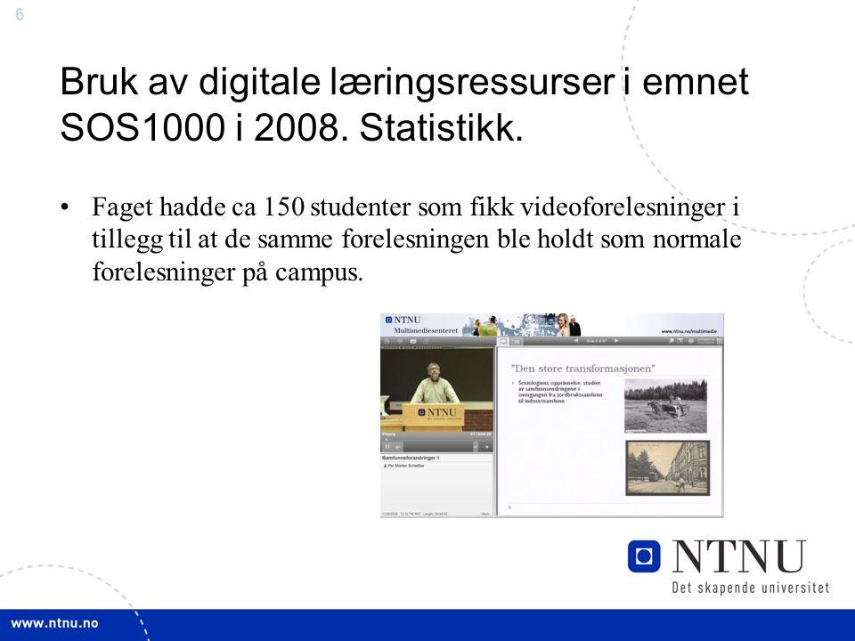 6 Bruk av digitale læringsressurser i emnet SOS1000 i 2008.