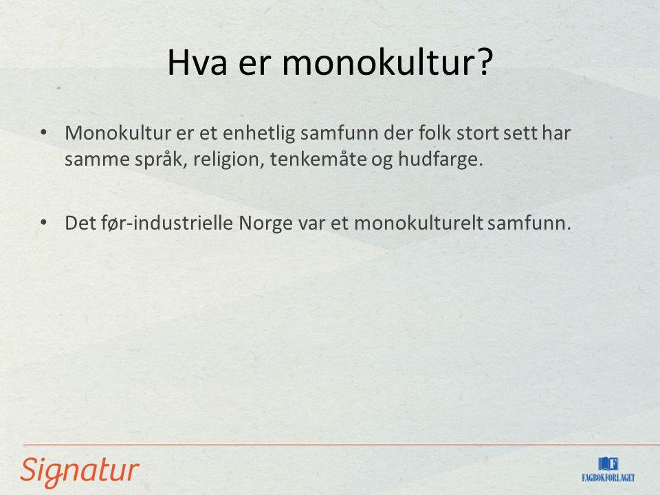 Hva er monokultur? Monokultur er et enhetlig samfunn der folk stort sett har samme språk, religion, tenkemåte og hudfarge. Det før-industrielle Norge
