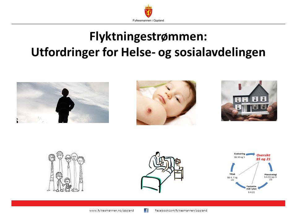 www.fylkesmannen.no/opplandFacebookcom/fylkesmannen/oppland Flyktningestrømmen: Utfordringer for Helse- og sosialavdelingen