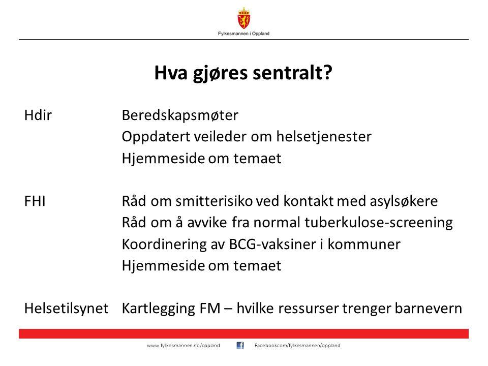 www.fylkesmannen.no/opplandFacebookcom/fylkesmannen/oppland Hva gjøres sentralt? HdirBeredskapsmøter Oppdatert veileder om helsetjenester Hjemmeside o