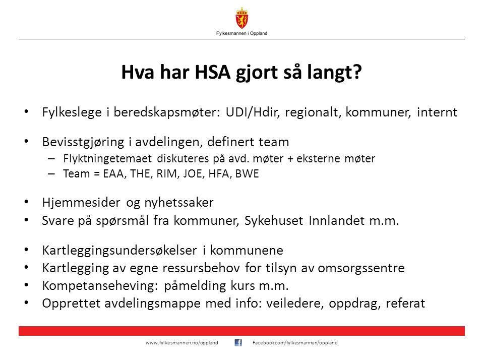 www.fylkesmannen.no/opplandFacebookcom/fylkesmannen/oppland Hva har HSA gjort så langt? Fylkeslege i beredskapsmøter: UDI/Hdir, regionalt, kommuner, i