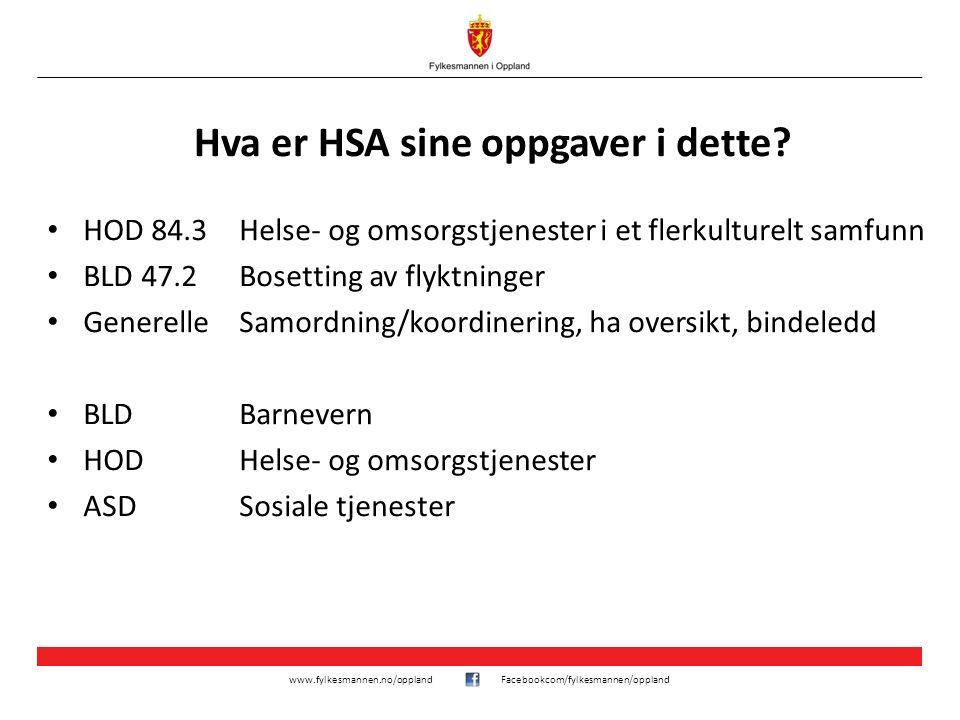 www.fylkesmannen.no/opplandFacebookcom/fylkesmannen/oppland Hva er HSA sine oppgaver i dette? HOD 84.3Helse- og omsorgstjenester i et flerkulturelt sa