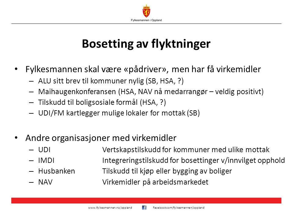 www.fylkesmannen.no/opplandFacebookcom/fylkesmannen/oppland Bosetting av flyktninger Fylkesmannen skal være «pådriver», men har få virkemidler – ALU s