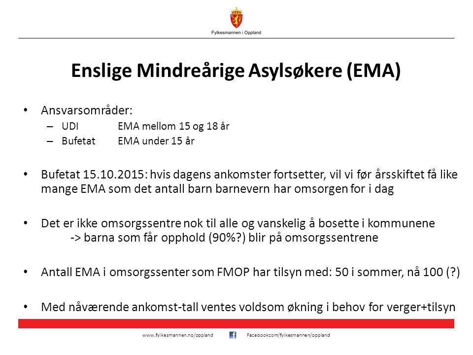 www.fylkesmannen.no/opplandFacebookcom/fylkesmannen/oppland Enslige Mindreårige Asylsøkere (EMA) Ansvarsområder: – UDI EMA mellom 15 og 18 år – Bufeta