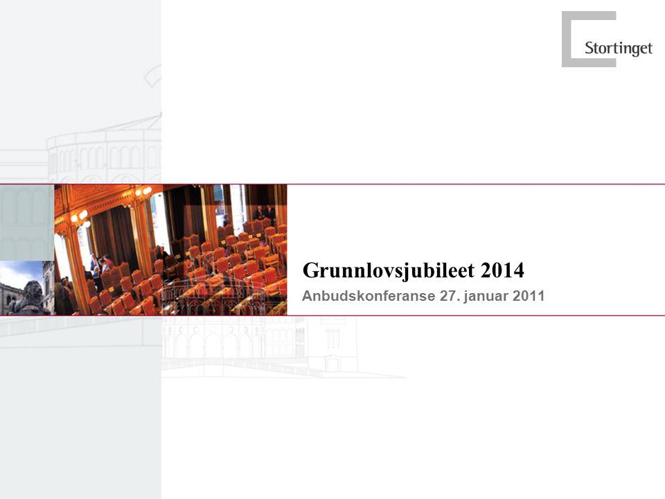 Agenda  Informasjon om anskaffelsen  Orientering om Grunnlovsjubileet 2014  Mottatte spørsmål  Andre spørsmål