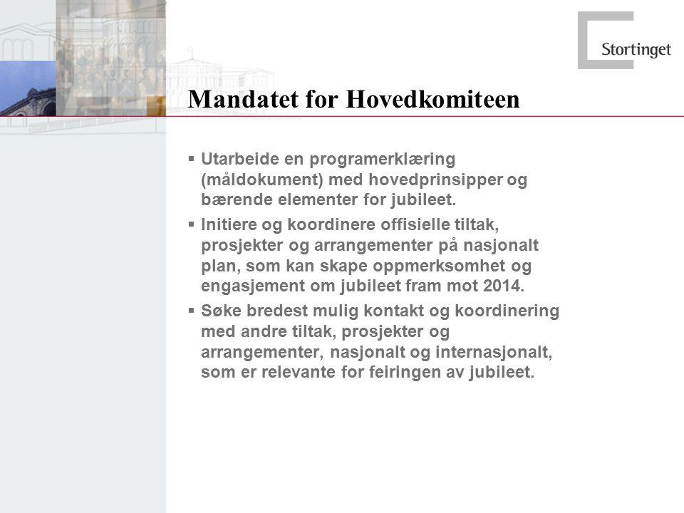 Mandatet for Hovedkomiteen  Utarbeide en programerklæring (måldokument) med hovedprinsipper og bærende elementer for jubileet.  Initiere og koordine