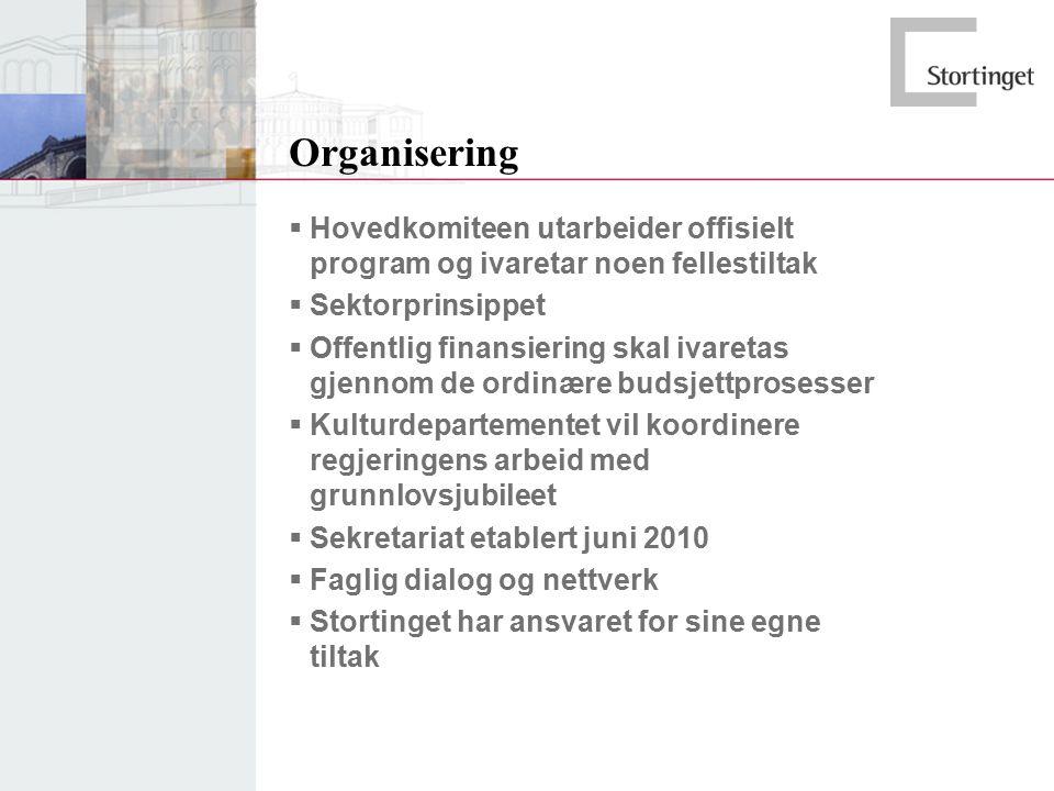 Organisering  Hovedkomiteen utarbeider offisielt program og ivaretar noen fellestiltak  Sektorprinsippet  Offentlig finansiering skal ivaretas gjen