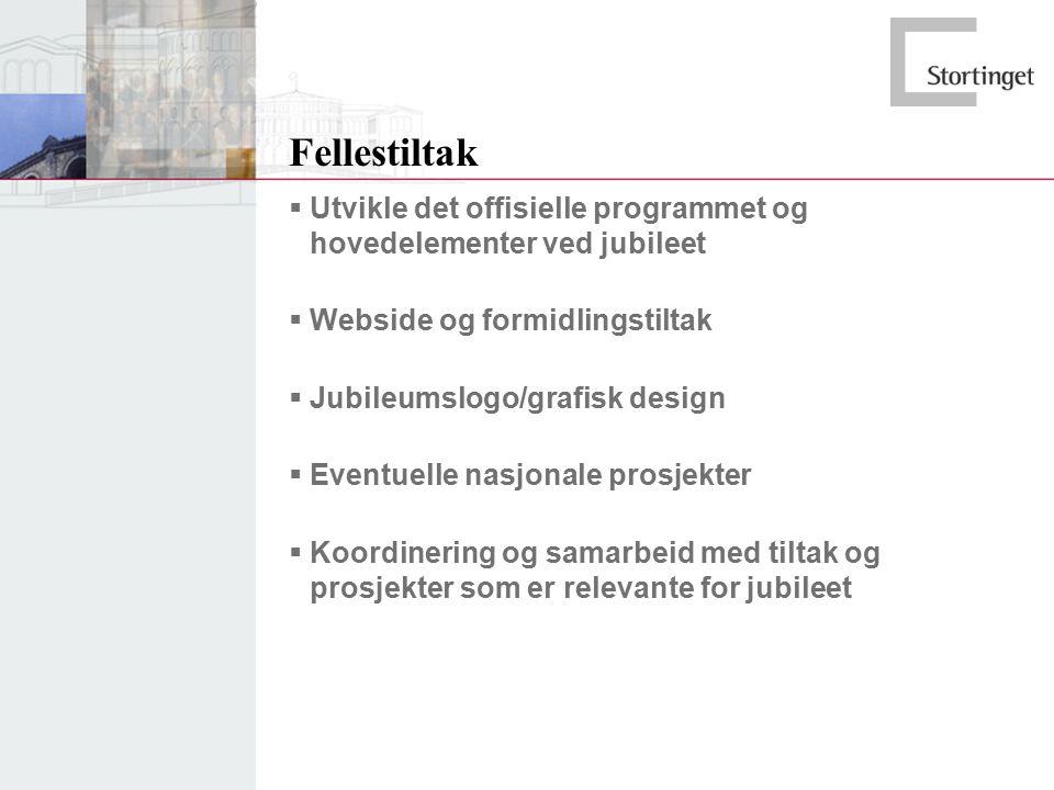 Fellestiltak  Utvikle det offisielle programmet og hovedelementer ved jubileet  Webside og formidlingstiltak  Jubileumslogo/grafisk design  Eventuelle nasjonale prosjekter  Koordinering og samarbeid med tiltak og prosjekter som er relevante for jubileet