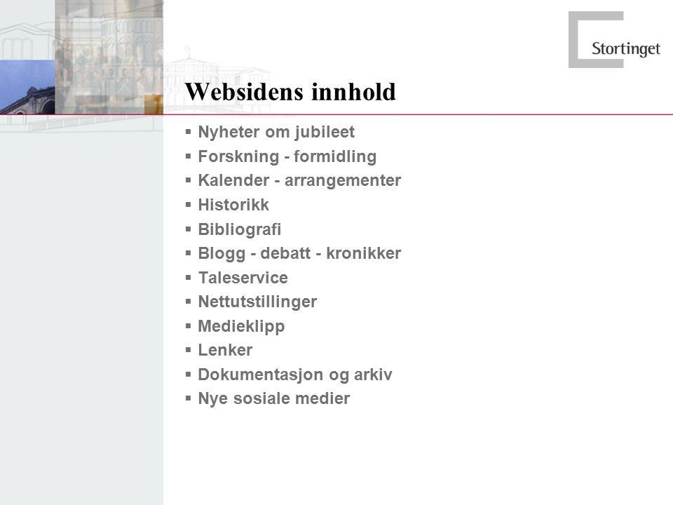 Websidens innhold  Nyheter om jubileet  Forskning - formidling  Kalender - arrangementer  Historikk  Bibliografi  Blogg - debatt - kronikker  T