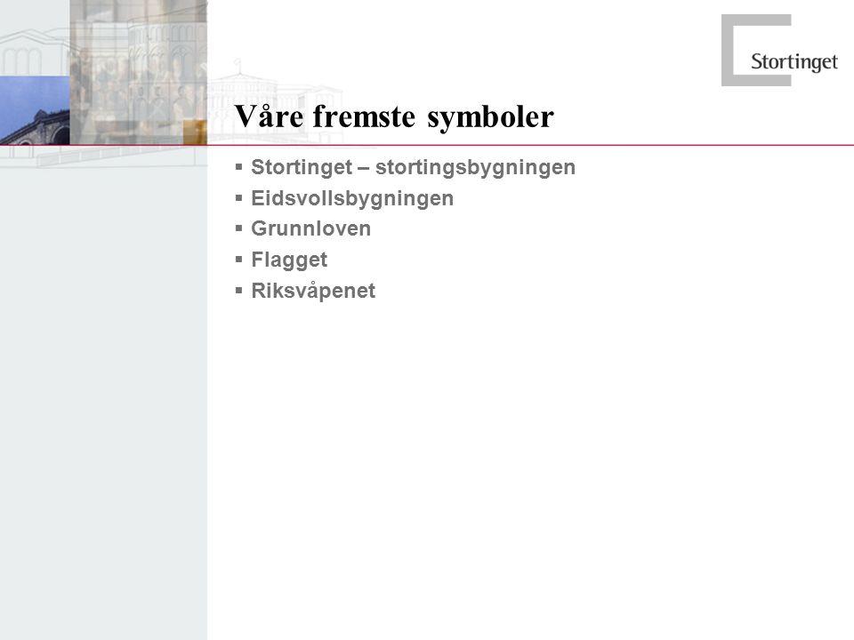 Våre fremste symboler  Stortinget – stortingsbygningen  Eidsvollsbygningen  Grunnloven  Flagget  Riksvåpenet
