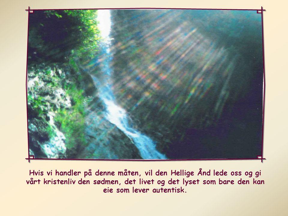 ja til de oppgavene Gud har betrodd oss; ja til å elske alle som kommer i vår nærhet; ja til prøvelser og vansker vi møter...