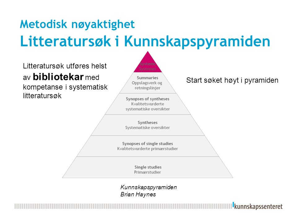 Metodisk nøyaktighet Litteratursøk i Kunnskapspyramiden Kunnskapspyramiden Brian Haynes Litteratursøk utføres helst av bibliotekar med kompetanse i systematisk litteratursøk Start søket høyt i pyramiden