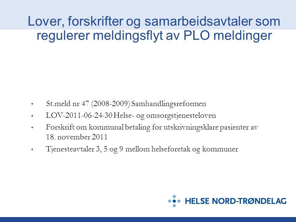 St.meld nr 47 (2008-2009) Samhandlingsreformen LOV-2011-06-24-30 Helse- og omsorgstjenesteloven Forskrift om kommunal betaling for utskrivningsklare p