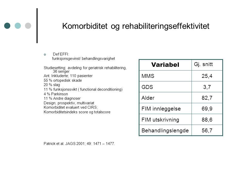 Komorbiditet og rehabiliteringseffektivitet Def EFFI: funksjonsgevinst/ behandlingsvarighet Studiesetting; avdeling for geriatrisk rehabilitering, 36