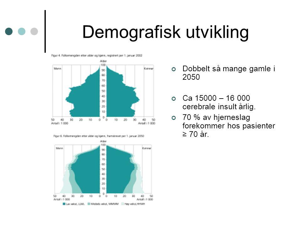 Demografisk utvikling Dobbelt så mange gamle i 2050 Ca 15000 – 16 000 cerebrale insult årlig. 70 % av hjerneslag forekommer hos pasienter ≥ 70 år.