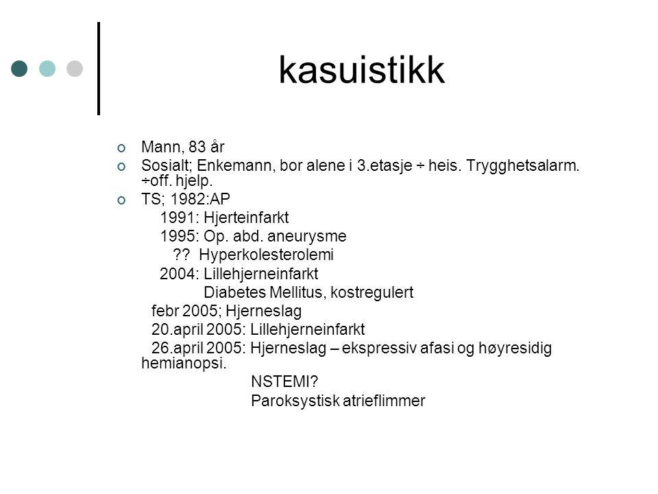 kasuistikk Mann, 83 år Sosialt; Enkemann, bor alene i 3.etasje ÷ heis. Trygghetsalarm. ÷off. hjelp. TS; 1982:AP 1991: Hjerteinfarkt 1995: Op. abd. ane