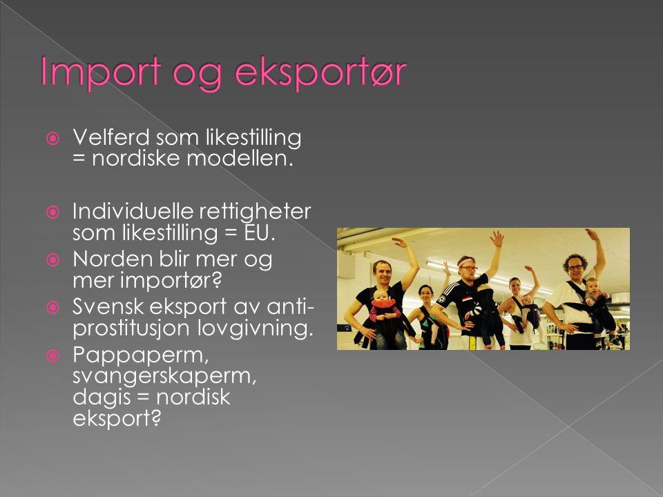  Velferd som likestilling = nordiske modellen.  Individuelle rettigheter som likestilling = EU.