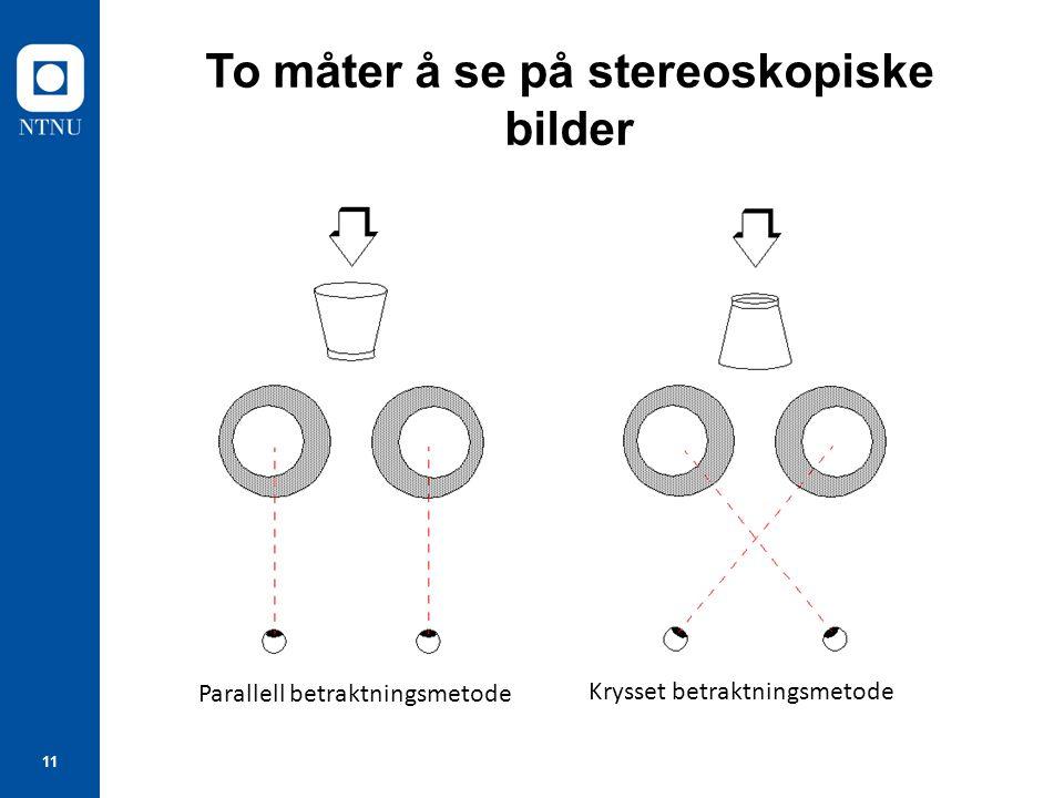 11 To måter å se på stereoskopiske bilder Parallell betraktningsmetode Krysset betraktningsmetode