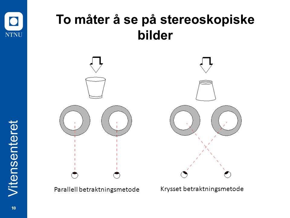 10 Vitensenteret To måter å se på stereoskopiske bilder Parallell betraktningsmetode Krysset betraktningsmetode