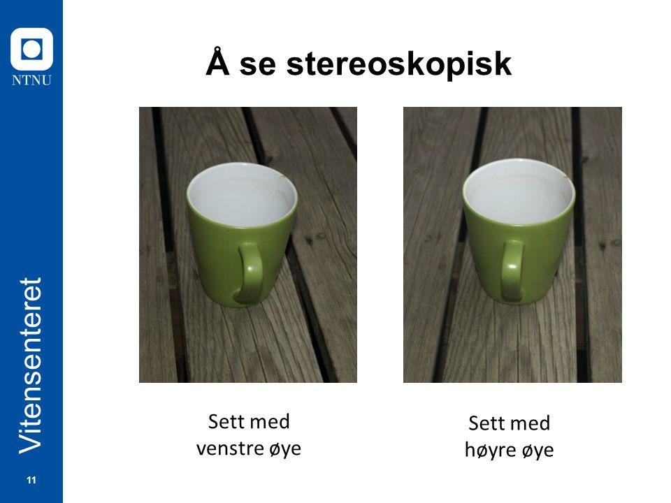 11 Vitensenteret Å se stereoskopisk Sett med venstre øye Sett med høyre øye
