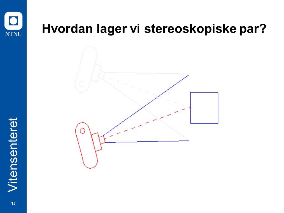 13 Vitensenteret Hvordan lager vi stereoskopiske par?